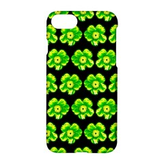 Green Yellow Flower Pattern On Dark Green Apple Iphone 7 Hardshell Case by Costasonlineshop