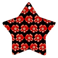 Red  Flower Pattern On Brown Ornament (Star)  by Costasonlineshop