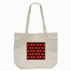 Red  Flower Pattern On Brown Tote Bag (cream) by Costasonlineshop