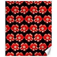 Red  Flower Pattern On Brown Canvas 8  X 10  by Costasonlineshop