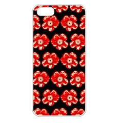 Red  Flower Pattern On Brown Apple Iphone 5 Seamless Case (white) by Costasonlineshop