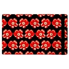 Red  Flower Pattern On Brown Apple Ipad 2 Flip Case by Costasonlineshop