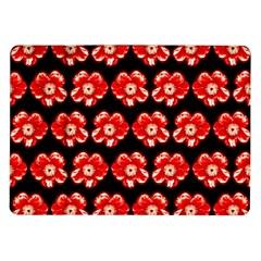 Red  Flower Pattern On Brown Samsung Galaxy Tab 10 1  P7500 Flip Case by Costasonlineshop