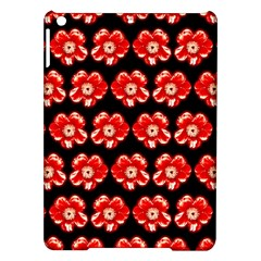 Red  Flower Pattern On Brown Ipad Air Hardshell Cases by Costasonlineshop