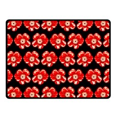 Red  Flower Pattern On Brown Double Sided Fleece Blanket (small)  by Costasonlineshop