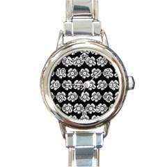 White Gray Flower Pattern On Black Round Italian Charm Watch by Costasonlineshop