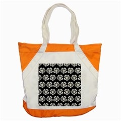 White Gray Flower Pattern On Black Accent Tote Bag by Costasonlineshop