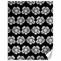 White Gray Flower Pattern On Black Canvas 18  X 24   by Costasonlineshop