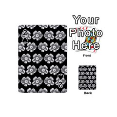 White Gray Flower Pattern On Black Playing Cards 54 (mini)  by Costasonlineshop