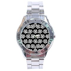 White Gray Flower Pattern On Black Stainless Steel Analogue Watch by Costasonlineshop
