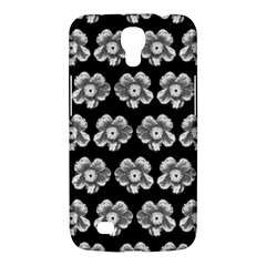 White Gray Flower Pattern On Black Samsung Galaxy Mega 6 3  I9200 Hardshell Case by Costasonlineshop