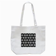 White Gray Flower Pattern On Black Tote Bag (white) by Costasonlineshop