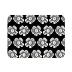 White Gray Flower Pattern On Black Double Sided Flano Blanket (mini)  by Costasonlineshop