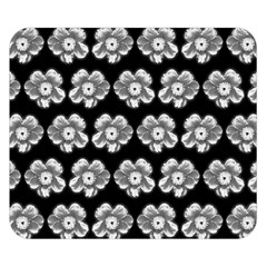 White Gray Flower Pattern On Black Double Sided Flano Blanket (small)  by Costasonlineshop