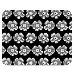 White Gray Flower Pattern On Black Double Sided Flano Blanket (medium)  by Costasonlineshop
