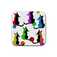 Colorful Abstract Cats Rubber Coaster (square)  by Valentinaart
