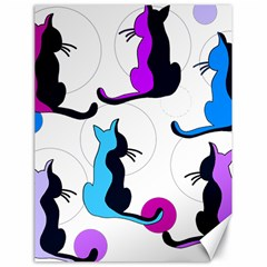 Purple Abstract Cats Canvas 18  X 24   by Valentinaart