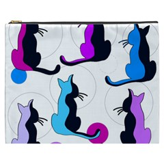 Purple Abstract Cats Cosmetic Bag (xxxl)  by Valentinaart