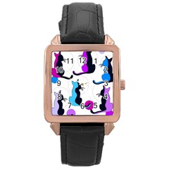 Purple Abstract Cats Rose Gold Leather Watch  by Valentinaart