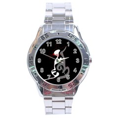 Gray Elegant Cat Stainless Steel Analogue Watch by Valentinaart