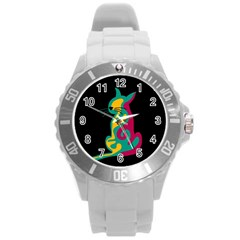 Colorful Abstract Cat  Round Plastic Sport Watch (l) by Valentinaart