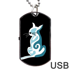 Blue Abstract Cat Dog Tag Usb Flash (one Side) by Valentinaart
