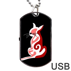 Red Abstract Cat Dog Tag Usb Flash (two Sides)  by Valentinaart