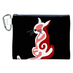 Red Abstract Cat Canvas Cosmetic Bag (xxl) by Valentinaart