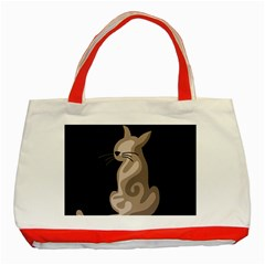 Brown Abstract Cat Classic Tote Bag (red) by Valentinaart