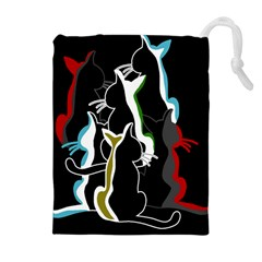 Street cats Drawstring Pouches (Extra Large)