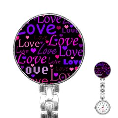 Love Pattern 2 Stainless Steel Nurses Watch by Valentinaart