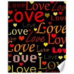 Love Pattern 3 Canvas 11  X 14   by Valentinaart