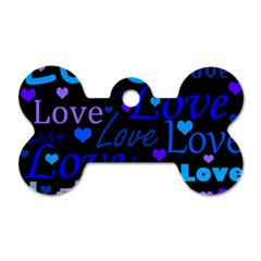 Blue Love Pattern Dog Tag Bone (two Sides) by Valentinaart