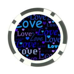 Blue Love Pattern Poker Chip Card Guards by Valentinaart