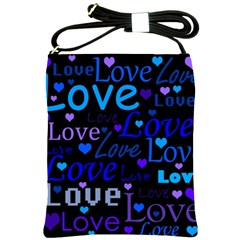 Blue Love Pattern Shoulder Sling Bags by Valentinaart