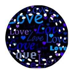 Blue Love Pattern Round Filigree Ornament (2side) by Valentinaart