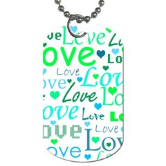 Love pattern - green and blue Dog Tag (Two Sides) by Valentinaart