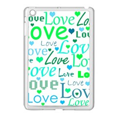 Love pattern - green and blue Apple iPad Mini Case (White) by Valentinaart