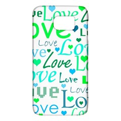 Love Pattern   Green And Blue Galaxy S6 by Valentinaart
