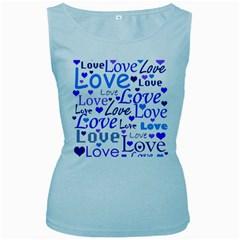 Blue And Purple Love Pattern Women s Baby Blue Tank Top by Valentinaart