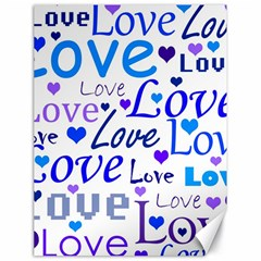 Blue And Purple Love Pattern Canvas 18  X 24   by Valentinaart