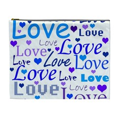 Blue and purple love pattern Cosmetic Bag (XL) by Valentinaart