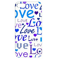 Blue and purple love pattern Apple iPhone 5 Hardshell Case with Stand by Valentinaart