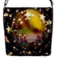 Christmas Crib Virgin Mary Joseph Jesus Christ Three Kings Baby Infant Jesus 4000 Flap Messenger Bag (s) by yoursparklingshop