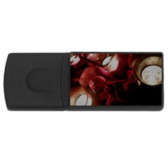 Dark Red Candlelight Candles Usb Flash Drive Rectangular (4 Gb)  by yoursparklingshop