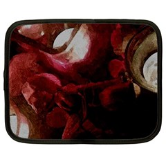 Dark Red Candlelight Candles Netbook Case (large) by yoursparklingshop
