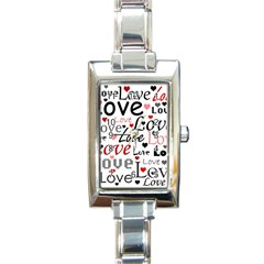 Love pattern - red Rectangle Italian Charm Watch by Valentinaart