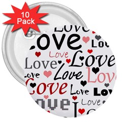 Love Pattern   Red 3  Buttons (10 Pack)  by Valentinaart