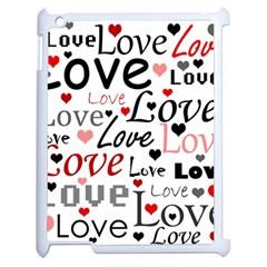 Love Pattern   Red Apple Ipad 2 Case (white) by Valentinaart