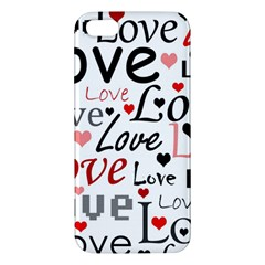 Love pattern - red Apple iPhone 5 Premium Hardshell Case by Valentinaart